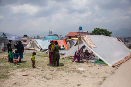 Paris Danda park: Kathmandu:  The largest open space in Paris Danda park is slowly being filled with makeshift shelters, constructed by worried families to scared to return home.
